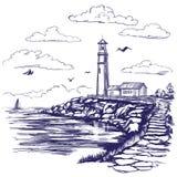 Συρμένο διανυσματικό σκίτσο απεικόνισης τοπίων φάρων και θάλασσας χέρι Στοκ Φωτογραφία