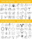 Συρμένο ευθυγραμμισμένο Doodle εικονίδιο το καθορισμένο Four Seasons Στοκ φωτογραφία με δικαίωμα ελεύθερης χρήσης