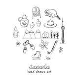 Συρμένο διάνυσμα εικονιδίων του Καναδά το χέρι doodle έθεσε Στοκ εικόνα με δικαίωμα ελεύθερης χρήσης