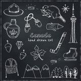Συρμένο διάνυσμα εικονιδίων του Καναδά το χέρι doodle έθεσε Στοκ φωτογραφία με δικαίωμα ελεύθερης χρήσης