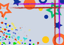 Συρμένο διάνυσμα υπόβαθρο με το πλαίσιο, σύνορα Πρότυπο Grunge με τον παφλασμό, τριβή ψεκασμού, ρωγμές Παλαιό εκλεκτής ποιότητας  απεικόνιση αποθεμάτων