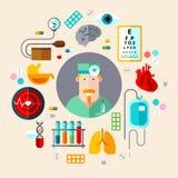 συρμένο καθορισμένο διανυσματικό λευκό ιατρικής απεικόνισης εικονιδίων χεριών Στοκ Φωτογραφία