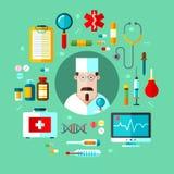 συρμένο καθορισμένο διανυσματικό λευκό ιατρικής απεικόνισης εικονιδίων χεριών Στοκ φωτογραφία με δικαίωμα ελεύθερης χρήσης