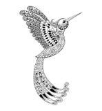 Συρμένο καλλιτεχνικά χέρι κολίβριο Zentangle, triba πουλιών πετάγματος ελεύθερη απεικόνιση δικαιώματος
