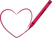 συρμένο κραγιόνι διάνυσμα απεικόνισης καρδιών ελεύθερη απεικόνιση δικαιώματος