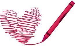 συρμένο κραγιόνι διάνυσμα απεικόνισης καρδιών διανυσματική απεικόνιση