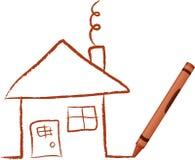 συρμένο κραγιόνι σπίτι απεικόνιση αποθεμάτων