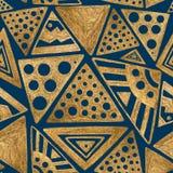 συρμένο πρότυπο χεριών άνε&upsilo ανασκόπηση εθνική Χρυσή απεικόνιση τριγώνων Στοκ Εικόνες