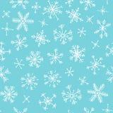 συρμένο πρότυπο χεριών άνε&upsilo μπλε λευκό ανασκόπησης Αφηρημένο snowflake σχεδίων doodle Διανυσματικό χιόνι απεικόνισης τέχνης διανυσματική απεικόνιση