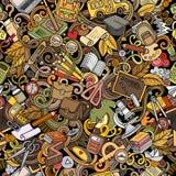Συρμένο σχολικό χέρι άνευ ραφής σχέδιο doodles κινούμενων σχεδίων χαριτωμένο Στοκ Φωτογραφίες