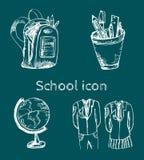 συρμένο σχολικό σύνολο εικονιδίων χεριών Στοκ φωτογραφία με δικαίωμα ελεύθερης χρήσης