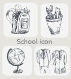 συρμένο σχολικό σύνολο εικονιδίων χεριών Στοκ Εικόνα