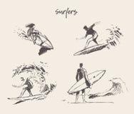 Συρμένο σύνολο διανυσματικό σκίτσο ιστιοσανίδων παραλιών νεαρών άνδρων Στοκ Φωτογραφίες
