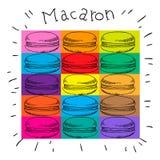 Συρμένο σύνολο χρώματος κέικ μακαρονιών χέρι επίσης corel σύρετε το διάνυσμα απεικόνισης Στοκ φωτογραφία με δικαίωμα ελεύθερης χρήσης