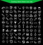 Συρμένο σύνολο εικονιδίων μαγειρέματος χέρι Στοκ Εικόνες