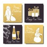 Συρμένο σύνολο καρτών Χριστουγέννων χέρι επίσης corel σύρετε το διάνυσμα απεικόνισης Στοκ φωτογραφία με δικαίωμα ελεύθερης χρήσης