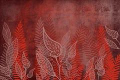 Συρμένο το χέρι βαμμένο grunge τέχνη υπόβαθρο φτερών και φύλλων με το ιαπωνικό μελάνι το υπόβαθρο ύφους βαθιά - κόκκινη σκοτεινή  διανυσματική απεικόνιση