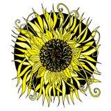 Συρμένο το χέρι διανυσματικό μαύρο και κίτρινο mandala, doodle ορίζει το στοιχείο σχεδίου, εθνικό φυλακτό Στοκ Εικόνα
