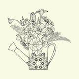 Συρμένο το χέρι διακοσμημένο πότισμα εικόνας μπορεί με το λουλούδι και το χορτάρι Στοκ εικόνες με δικαίωμα ελεύθερης χρήσης