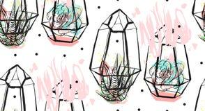 Συρμένο το χέρι διανυσματικό αφηρημένο άνευ ραφής σχέδιο με το τραχύ terrarium, Πόλκα διαστίζει τη σύσταση και τις succulent εγκα Στοκ Εικόνες