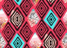 Συρμένο το χέρι διανυσματικό αφηρημένο ελεύθερο κατασκευασμένο άνευ ραφής σχέδιο κολάζ με την άνοιξη ανθίζει mottif στο χρώμα κρη Στοκ Εικόνες