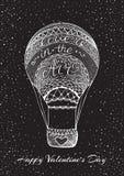 Συρμένο το χέρι μπαλόνι αέρα με την αγάπη είναι στη χειρόγραφη καλλιγραφία αέρα Στοκ εικόνα με δικαίωμα ελεύθερης χρήσης