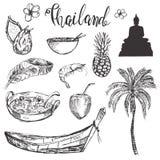 Συρμένο το χέρι σύνολο με συρμένη τη χέρι Ταϊλάνδη τα σύμβολα διανυσματική απεικόνιση
