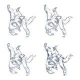 Συρμένο το χέρι τζούντο ρίχνει το απομονωμένο διάνυσμα Στοκ εικόνες με δικαίωμα ελεύθερης χρήσης