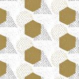 Συρμένο χέρι άνευ ραφής γεωμετρικό hexagon, τρίγωνο, σχέδιο κύκλων πρότυπο άνευ ραφής Σύσταση τυπωμένων υλών Σχέδιο υφάσματος ελεύθερη απεικόνιση δικαιώματος