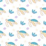 Συρμένο χέρι άνευ ραφής διανυσματικό σχέδιο χελωνών κινούμενων σχεδίων Στοκ φωτογραφίες με δικαίωμα ελεύθερης χρήσης