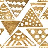 Συρμένο χέρι άνευ ραφής εθνικό των Αζτέκων φυλετικό χρυσό άσπρο εκλεκτής ποιότητας υπόβαθρο σχεδίων Στοκ Φωτογραφία