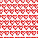 Συρμένο χέρι άνευ ραφής κόκκινο υπόβαθρο καρδιών ελεύθερη απεικόνιση δικαιώματος