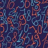 Συρμένο χέρι άνευ ραφής σχέδιο αριθμών απεικόνιση αποθεμάτων