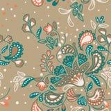 Συρμένο χέρι άνευ ραφής σχέδιο διακοσμήσεων μπατίκ floral στοκ φωτογραφία με δικαίωμα ελεύθερης χρήσης