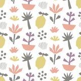 Συρμένο χέρι άνευ ραφής σχέδιο εγγράφου περικοπών, λουλούδια, τροπικά εγκαταστάσεις και φρούτα Στοκ φωτογραφία με δικαίωμα ελεύθερης χρήσης