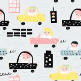 Συρμένο χέρι άνευ ραφής σχέδιο με τα αυτοκίνητα Δημιουργικό παιδαριώδες υπόβαθρο με τη χαριτωμένη μεταφορά πόλεων για το ύφασμα,  Στοκ Φωτογραφίες