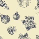 Συρμένο χέρι άνευ ραφής σχέδιο με τα στοιχεία Χριστουγέννων Διακοπές Χριστουγέννων και χειμώνα απεικόνιση αποθεμάτων