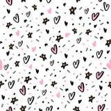 Συρμένο χέρι άνευ ραφής σχέδιο με τις καρδιές και το αστέρι Στοκ εικόνα με δικαίωμα ελεύθερης χρήσης