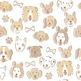 Συρμένο χέρι άνευ ραφής σχέδιο προσώπου σκυλιών κινούμενων σχεδίων διάφορα χαριτωμένα σκυλιά Στοκ Εικόνες