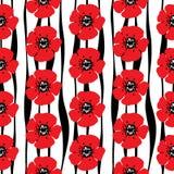 Συρμένο χέρι άνευ ραφής σχέδιο των κόκκινων παπαρουνών και των τυποποιημένων λουρίδων ο διανυσματική απεικόνιση