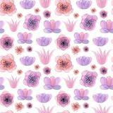 Συρμένο χέρι άνευ ραφής σχέδιο Watercolor με τα λουλούδια Στοκ εικόνα με δικαίωμα ελεύθερης χρήσης