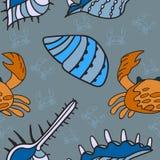 Συρμένο χέρι άνευ ραφής σχέδιο θάλασσας Στοκ Εικόνα