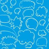 Συρμένο χέρι άνευ ραφής σχέδιο με την ομιλία ή τις σκεπτόμενες φυσαλίδες Διανυσματική ανασκόπηση Στοκ Εικόνα