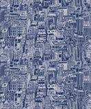 Συρμένο χέρι άνευ ραφής σχέδιο με τους ουρανοξύστες Στοκ Φωτογραφία