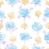 Συρμένο χέρι άνευ ραφής σχέδιο λουλουδιών Watercolor Στοκ Φωτογραφίες