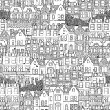 Συρμένο χέρι άνευ ραφής σχέδιο των βρετανικών σπιτιών ύφους Στοκ Φωτογραφίες