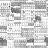 Συρμένο χέρι άνευ ραφής σχέδιο των γερμανικών σπιτιών ύφους Στοκ Εικόνα