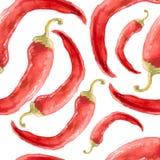 Συρμένο χέρι άνευ ραφής σχέδιο Watercolor με το κόκκινο πιπέρι τσίλι Στοκ Εικόνα