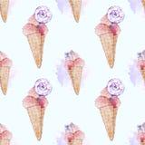 Συρμένο χέρι άνευ ραφής σχέδιο watercolor με το yummy παγωτό και το κέικ ελεύθερη απεικόνιση δικαιώματος