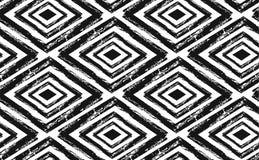 Συρμένο χέρι άνευ ραφής φυλετικό σχέδιο στο Μαύρο και την κρέμα Σύγχρονο κλωστοϋφαντουργικό προϊόν, τέχνη τοίχων, τυλίγοντας έγγρ Στοκ εικόνες με δικαίωμα ελεύθερης χρήσης
